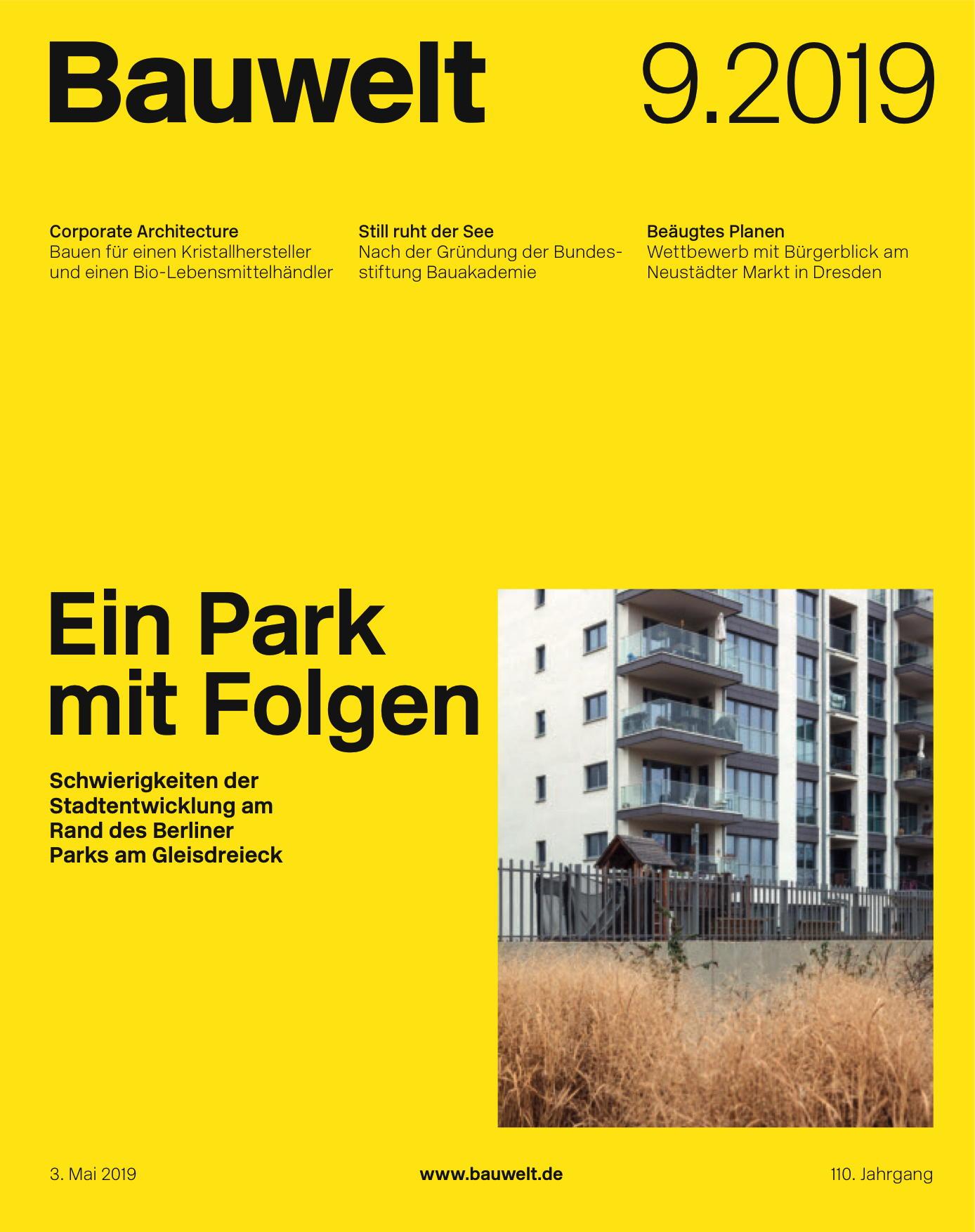 """Alexander Stumm: """"Urbane Mitte"""", in Bauwelt 9.2019, S. 40–41"""